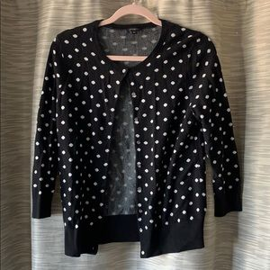 Ann Taylor black white polka dot cardigan medium